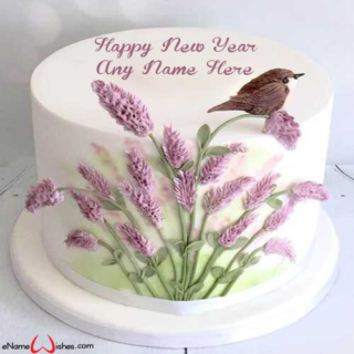 Amazing-New-Year-Flowers-Wish-Name-Cake