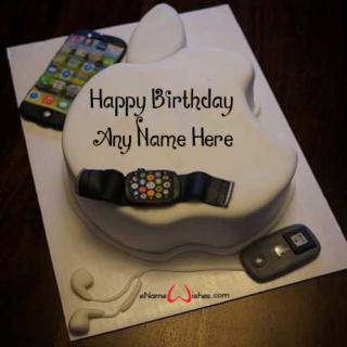 Apple-Logo-Birthday-Wish-Cake-with-Name
