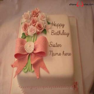 Beautiful-Flower-Birthday-Name-Wish-Cake-for-Sister