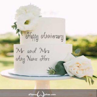 Beautiful-Flower-Wedding-Anniversary-Name-Wish-Cake