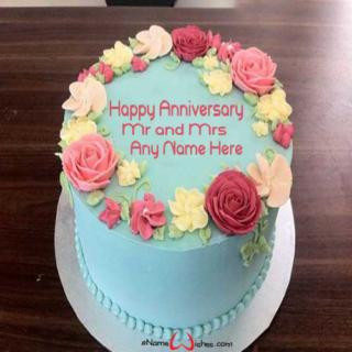 Beautiful-Flowers-Anniversary-Wish-Cake