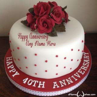 Best-Red-Roses-40-Anniversary-Wish-Name-Cake