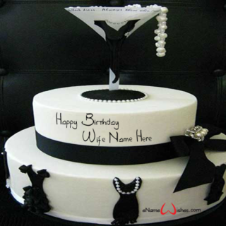Black-Dress-Birthday-Wish-Cake-with-Name