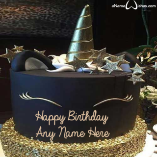 Black-and-Gold-Unicorn-Birthday-Cake