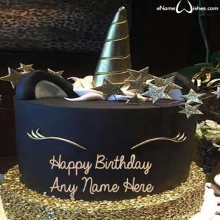 Black-and-Gold-Unicorn-Birthday-Cake