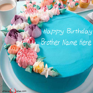 Blooming-Flower-Birthday-Cake-for-Brother-with-Name