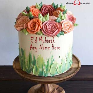Buttercream-Flower-Eid-Wish-Name-Cake