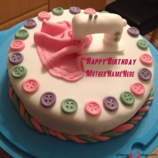 Colorful Buttons Birthday Wish Name Cake