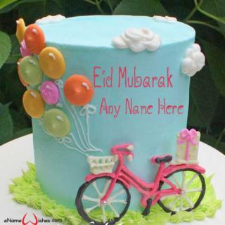 Cute-Bicycle-Eid-Wish-Name-Cake