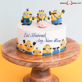 Cute-Eid-Mubarak-Minions-Wish-Name-Cake