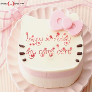 Cute Kitty Happy Birthday Wish Name Cake