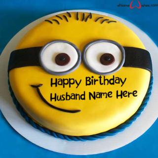 Cute-Minion-Birthday-Name-Cake-for-Husband