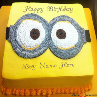 Cute-Minion-Birthday-Wish-Cake-with-Name-for-Boys
