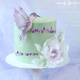 Cute-Sparrow-Birthday-Name-Cake