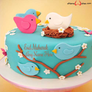 Cute-Sparrows-Eid-Wish-Cake-with-Name