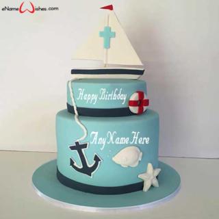 Decorated-Boat-Birthday-Wish-Name-Cake