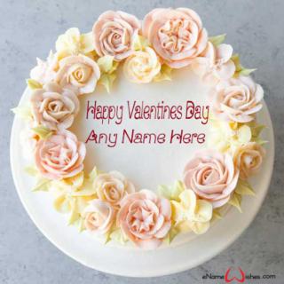 Elegant-Flower-Valentines-Day-Wish-Name-Cake