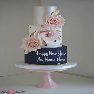 Floral-Cake-Wish-For-New-Year-eve-with-Name