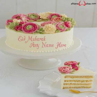 Floral-Eid-Mubarak-Name-Wish-Cake