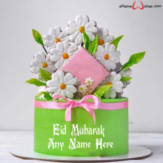 Fresh-Flower-Eid-Wish-Name-Cake