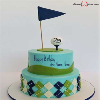 Golf-Themed-Birthday-Name-Cake