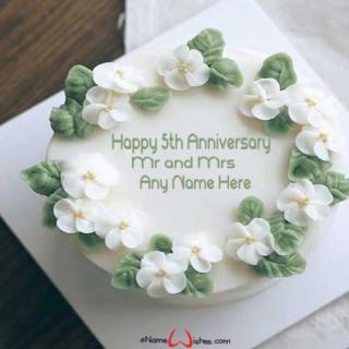 Happy-5th-Wedding-Anniversary-Name-Wish-Cake