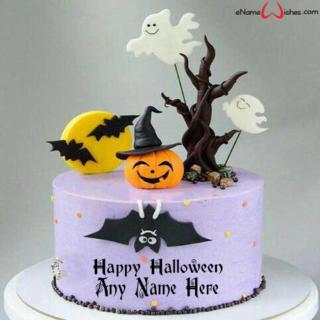 Happy-Halloween-Bats-Cake-with-Name