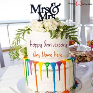Mrs-and-Mrs-rainbow-themed-wedding-cake