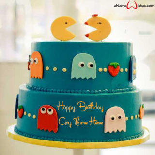 Pac-Man-Birthday-Name-Cake