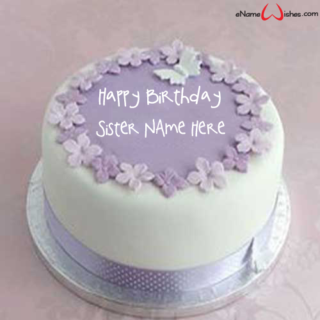 Purple-Flowers-Birthday-Name-Wish-Cake-for-Sister