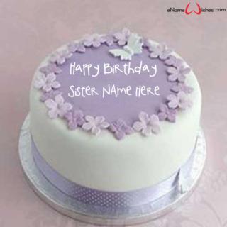 Purple-Flowers-Birthday-Name-Wish-Cake-for-Sister