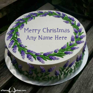 Purple-flowers-Christmas-wish-cake-with-name