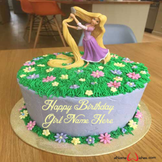 Rapunzel-Name-Birthday-Cake