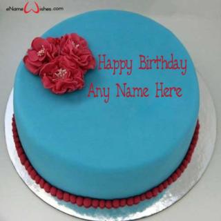 Red-Flower-Birthday-Name-Wish-Cake