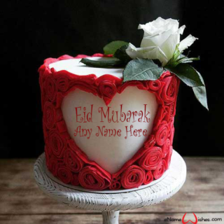 Red-Heart-Eid-Wish-Name-Cake