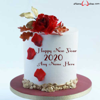 Red-Rose-New-Year-2020-Wish-Name-Cake