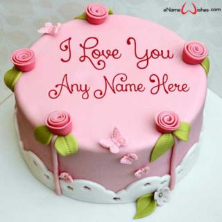 Ribbon-Rose-Love-Wish-Name-Cake