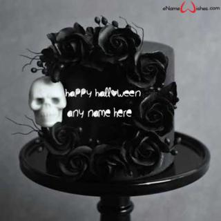 Skull-Wreath-Halloween-Wish-Name-Cake