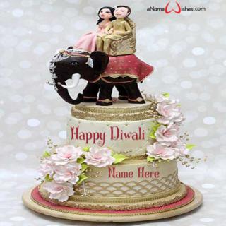 Write-Name-on-Happy-Diwali-Wish-Cake