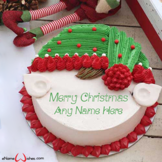 Write-Name-on-Merry-Christmas-Doll-Wish-Cake