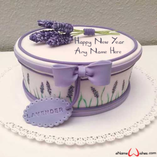 Write-Name-on-New-Year--Lavender-Cake