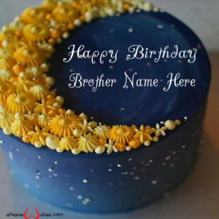 Yellow Flowers Birthday Wish Name Cake For Brother