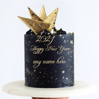 black-buttercream-new-year-cake-2021-with-name