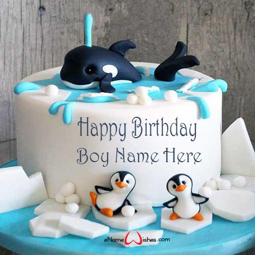 Cartoon Birthday Cake With Name Edit Enamewishes