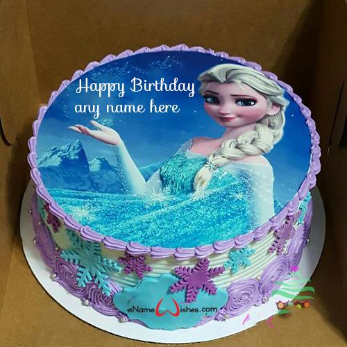 Pleasing Elsa Frozen Birthday Cake Images With Name Enamewishes Funny Birthday Cards Online Fluifree Goldxyz