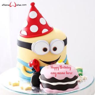 minion-birthday-party-cake-with-name-creator