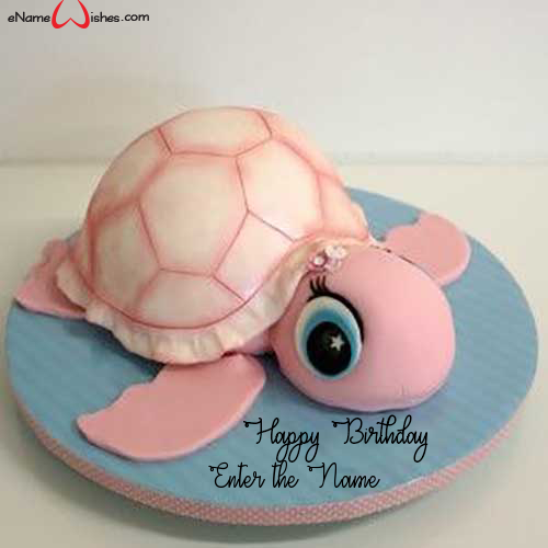 Admirable Cute Turtle Birthday Name Wish Cake Enamewishes Funny Birthday Cards Online Alyptdamsfinfo