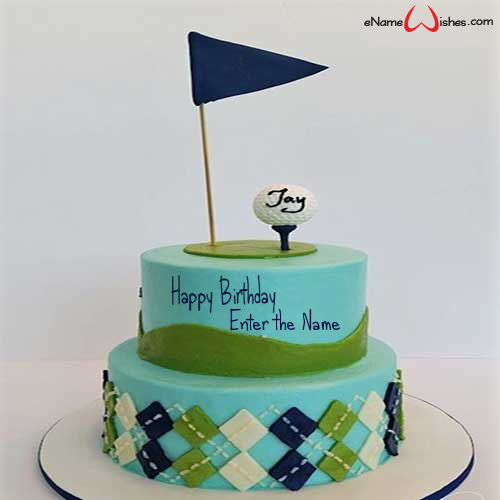 Astounding Golf Themed Birthday Name Cake Enamewishes Funny Birthday Cards Online Aeocydamsfinfo