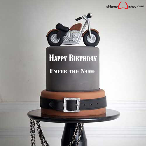 Outstanding Cool Motorcycle Birthday Name Cake Enamewishes Personalised Birthday Cards Epsylily Jamesorg