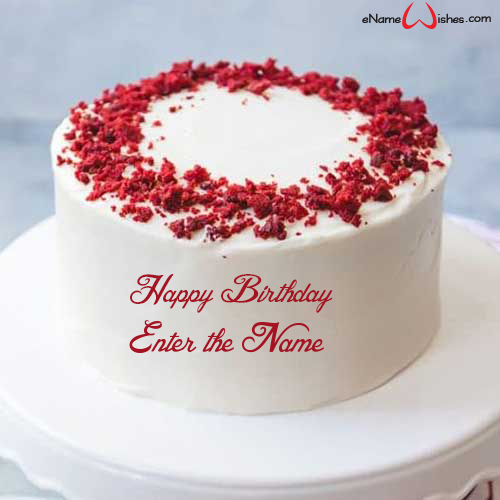 Red Velvet Cake With Name Enamewishes